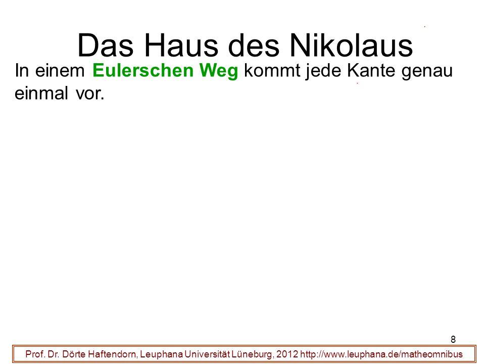8 Das Haus des Nikolaus Prof. Dr. Dörte Haftendorn, Leuphana Universität Lüneburg, 2012 http://www.leuphana.de/matheomnibus In einem Eulerschen Weg ko