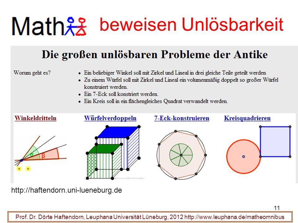 Prof. Dr. Dörte Haftendorn, Leuphana Universität Lüneburg, 2012 http://www.leuphana.de/matheomnibus beweisen Unlösbarkeit http://haftendorn.uni-lueneb