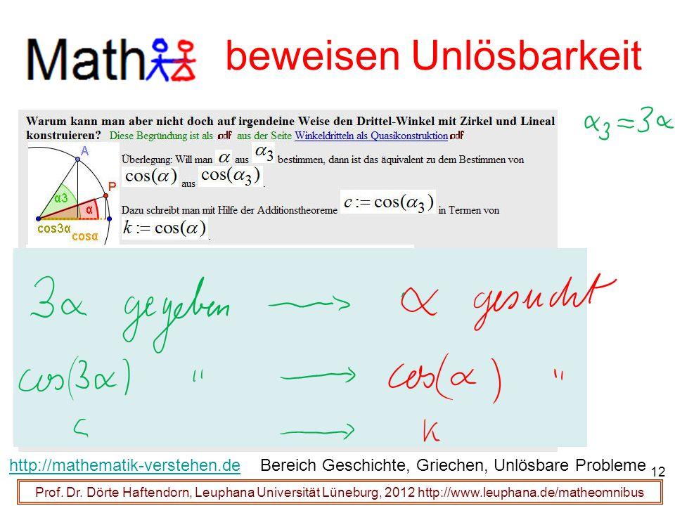 Prof. Dr. Dörte Haftendorn, Leuphana Universität Lüneburg, 2012 http://www.leuphana.de/matheomnibus beweisen Unlösbarkeit http://mathematik-verstehen.
