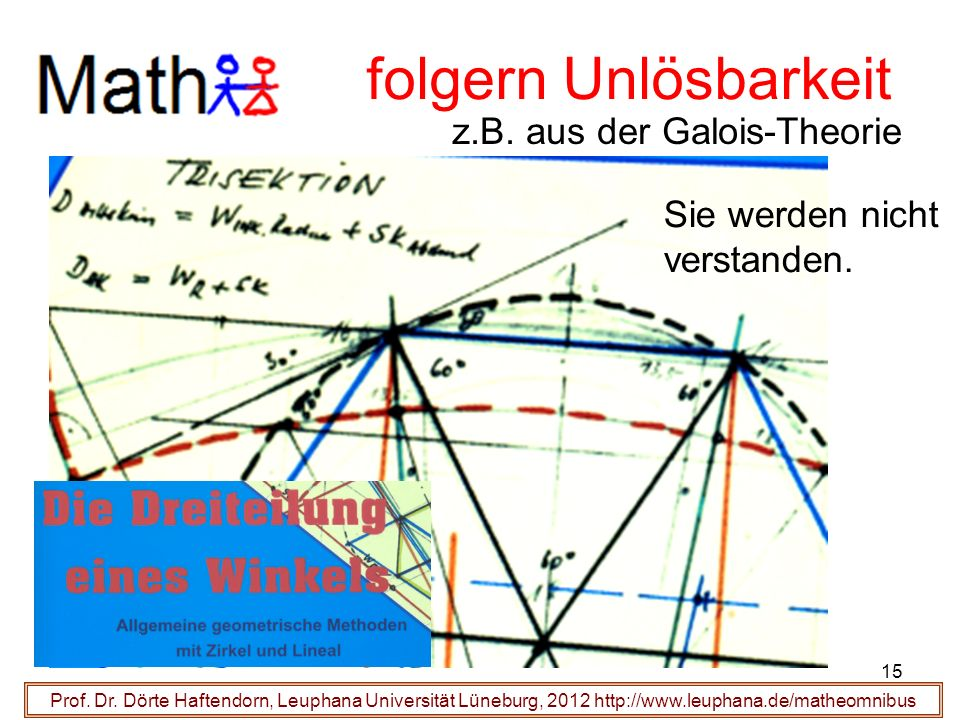 Prof. Dr. Dörte Haftendorn, Leuphana Universität Lüneburg, 2012 http://www.leuphana.de/matheomnibus folgern Unlösbarkeit z.B. aus der Galois-Theorie S
