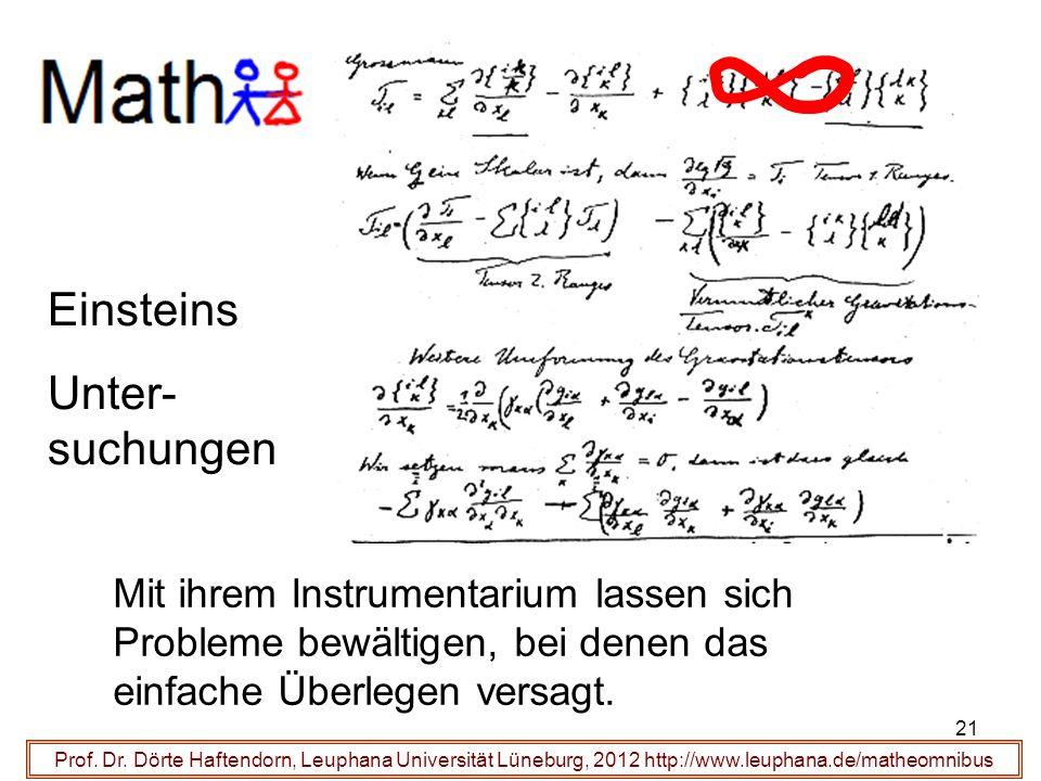 Prof. Dr. Dörte Haftendorn, Leuphana Universität Lüneburg, 2012 http://www.leuphana.de/matheomnibus gehen mit um Mit ihrem Instrumentarium lassen sich