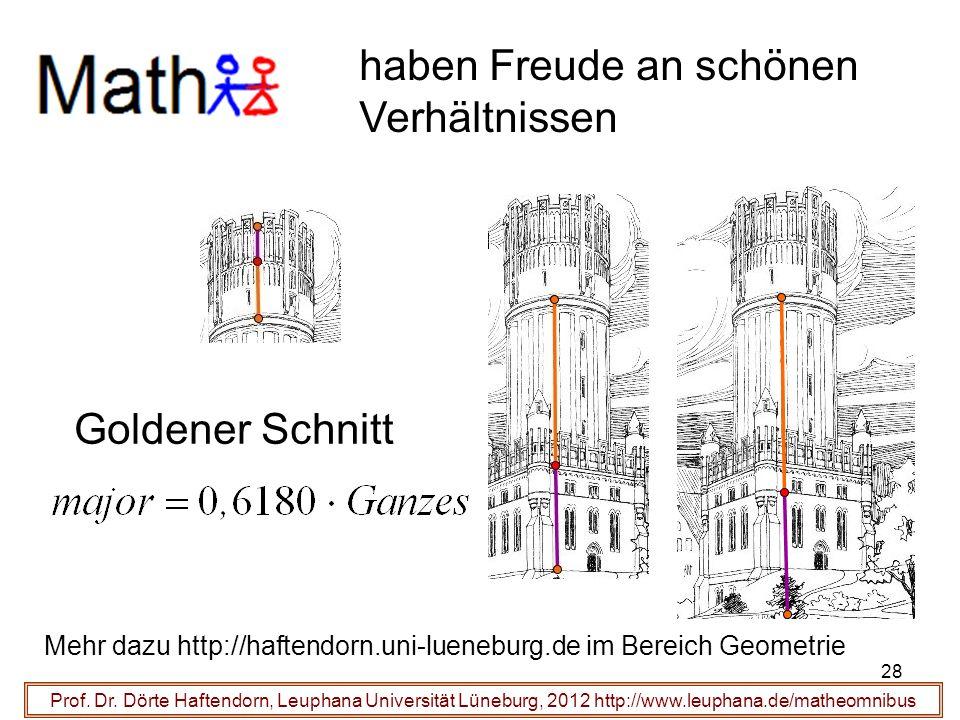 Prof. Dr. Dörte Haftendorn, Leuphana Universität Lüneburg, 2012 http://www.leuphana.de/matheomnibus haben Freude an schönen Verhältnissen Goldener Sch