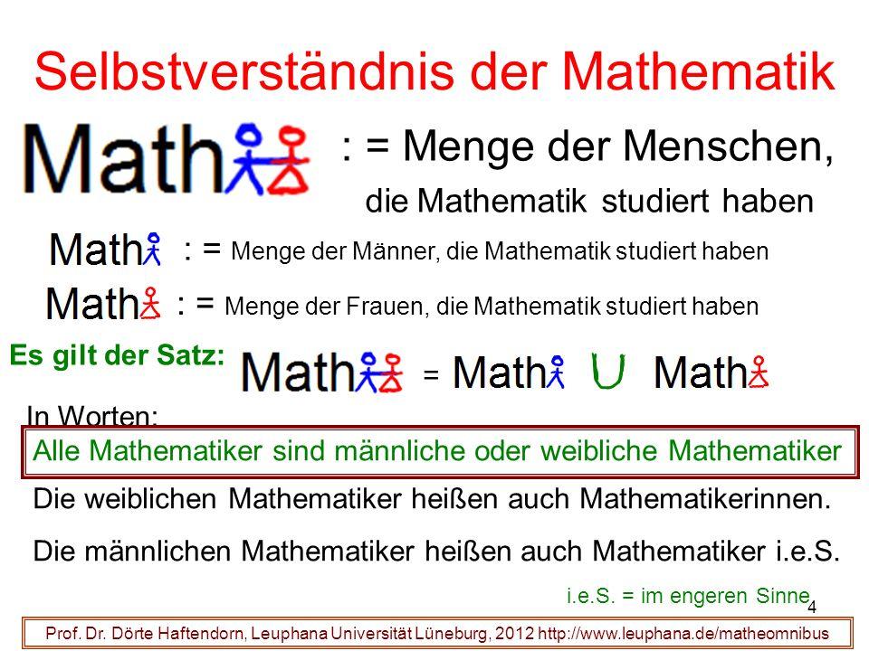 Prof. Dr. Dörte Haftendorn, Leuphana Universität Lüneburg, 2012 http://www.leuphana.de/matheomnibus : = Menge der Menschen, die Mathematik studiert ha