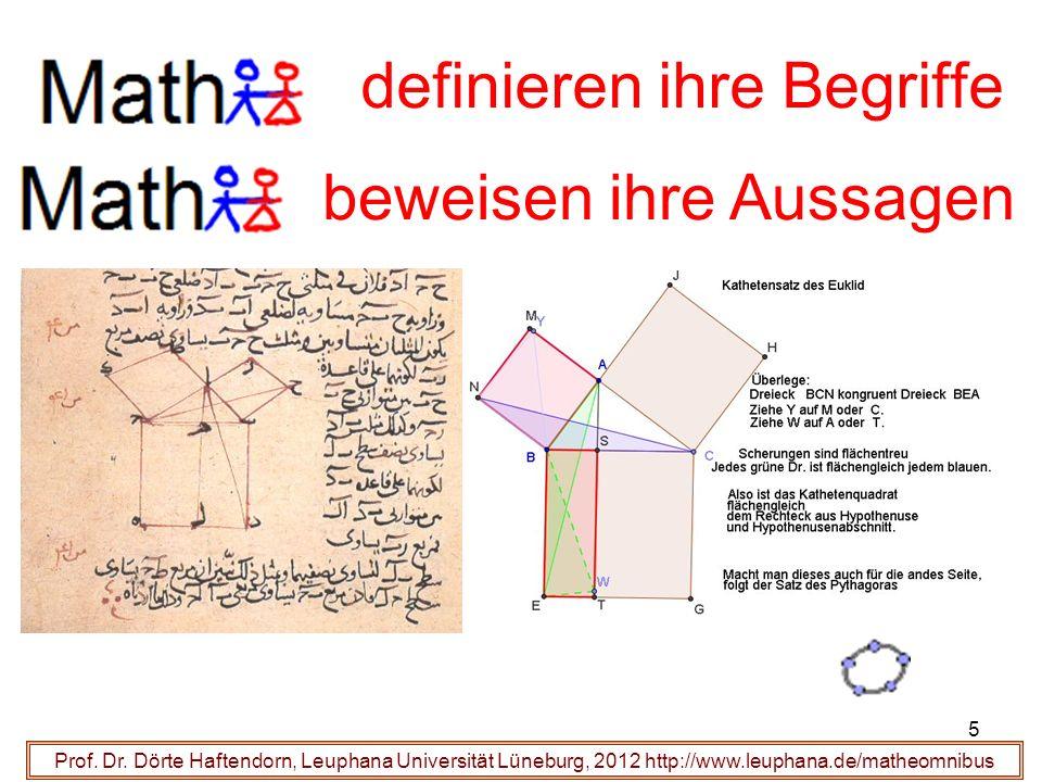 Prof. Dr. Dörte Haftendorn, Leuphana Universität Lüneburg, 2012 http://www.leuphana.de/matheomnibus definieren ihre Begriffe beweisen ihre Aussagen 5