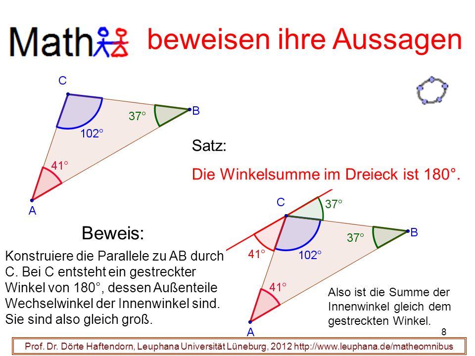 Prof. Dr. Dörte Haftendorn, Leuphana Universität Lüneburg, 2012 http://www.leuphana.de/matheomnibus beweisen ihre Aussagen Beweis: Satz: Die Winkelsum