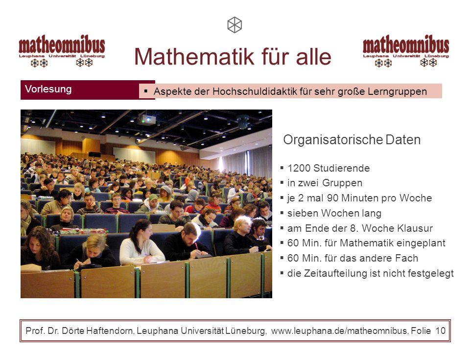 Vorlesung Prof. Dr. Dörte Haftendorn, Leuphana Universität Lüneburg, www.leuphana.de/matheomnibus, Folie 9 Mathematik für alle Bezug zur Lebenswelt, d