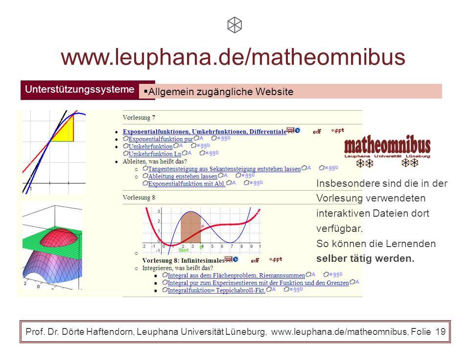 Unterstützungssysteme Prof. Dr. Dörte Haftendorn, Leuphana Universität Lüneburg, www.leuphana.de/matheomnibus, Folie 18 www.leuphana.de/matheomnibus A