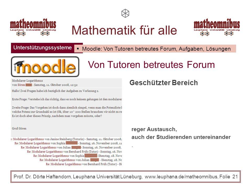 Unterstützungssysteme Prof. Dr. Dörte Haftendorn, Leuphana Universität Lüneburg, www.leuphana.de/matheomnibus, Folie 20 Mathematik für alle Moodle: Vo