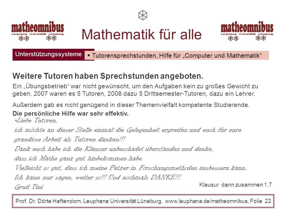 Unterstützungssysteme Prof. Dr. Dörte Haftendorn, Leuphana Universität Lüneburg, www.leuphana.de/matheomnibus, Folie 21 Mathematik für alle Moodle: Vo