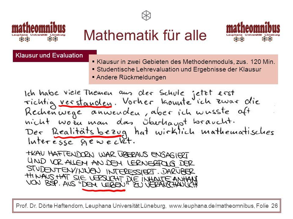 Klausur und Evaluation Prof. Dr. Dörte Haftendorn, Leuphana Universität Lüneburg, www.leuphana.de/matheomnibus, Folie 25 Mathematik für alle Klausur i