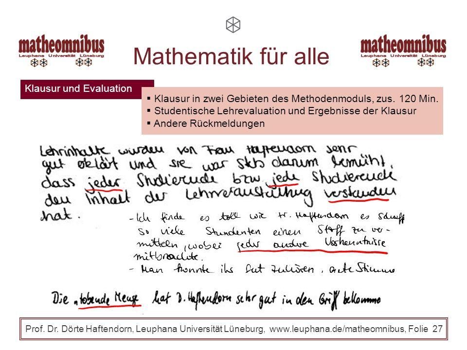 Klausur und Evaluation Prof. Dr. Dörte Haftendorn, Leuphana Universität Lüneburg, www.leuphana.de/matheomnibus, Folie 26 Mathematik für alle Klausur i