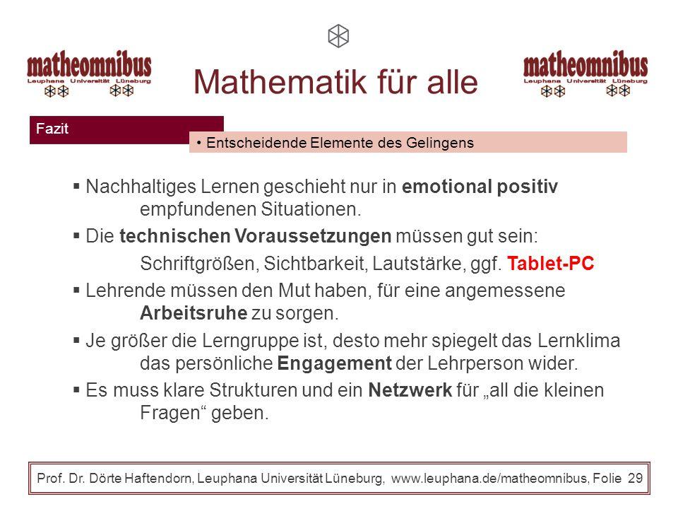 Klausur und Evaluation Prof. Dr. Dörte Haftendorn, Leuphana Universität Lüneburg, www.leuphana.de/matheomnibus, Folie 28 Mathematik für alle Klausur i