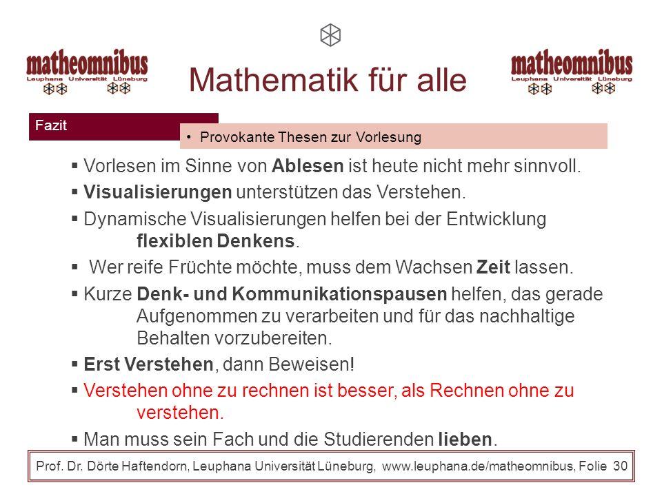 Fazit Prof. Dr. Dörte Haftendorn, Leuphana Universität Lüneburg, www.leuphana.de/matheomnibus, Folie 29 Mathematik für alle Entscheidende Elemente des