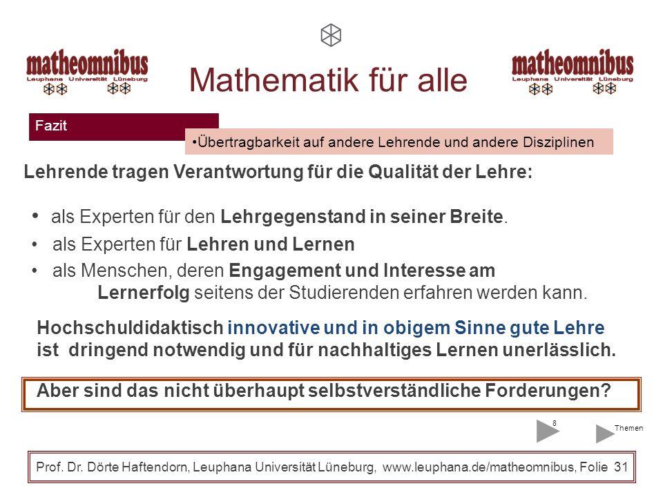 Fazit Prof. Dr. Dörte Haftendorn, Leuphana Universität Lüneburg, www.leuphana.de/matheomnibus, Folie 30 Mathematik für alle Provokante Thesen zur Vorl
