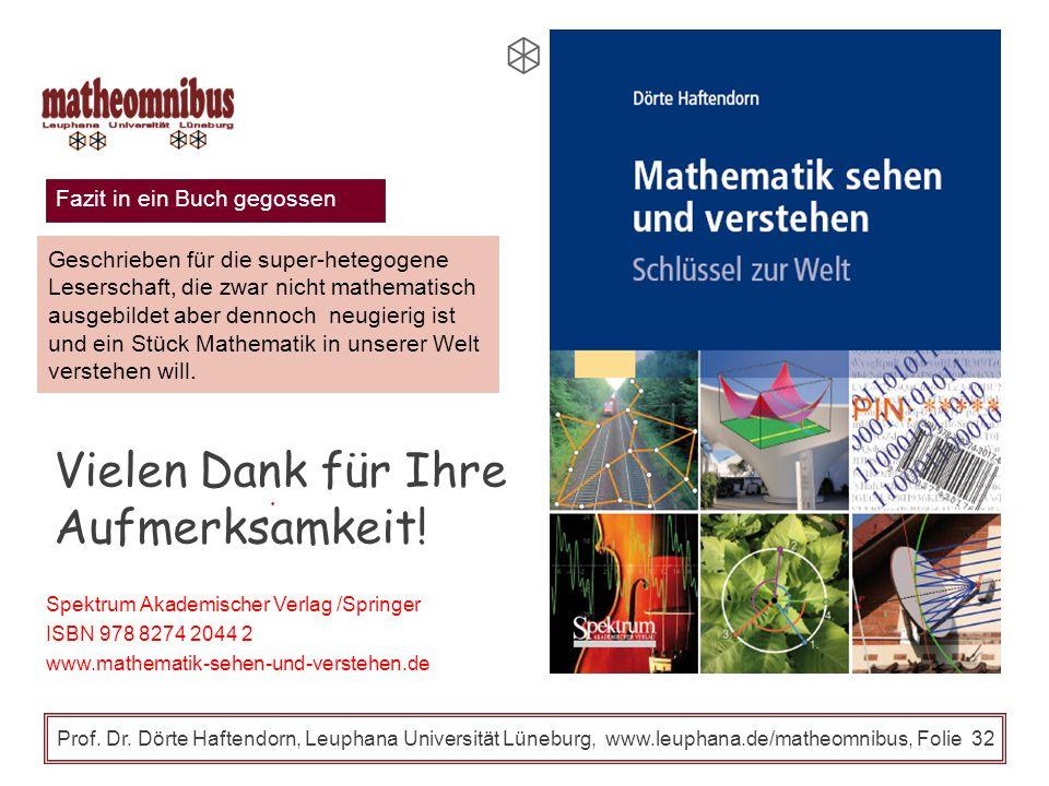 Fazit Prof. Dr. Dörte Haftendorn, Leuphana Universität Lüneburg, www.leuphana.de/matheomnibus, Folie 31 Mathematik für alle Übertragbarkeit auf andere