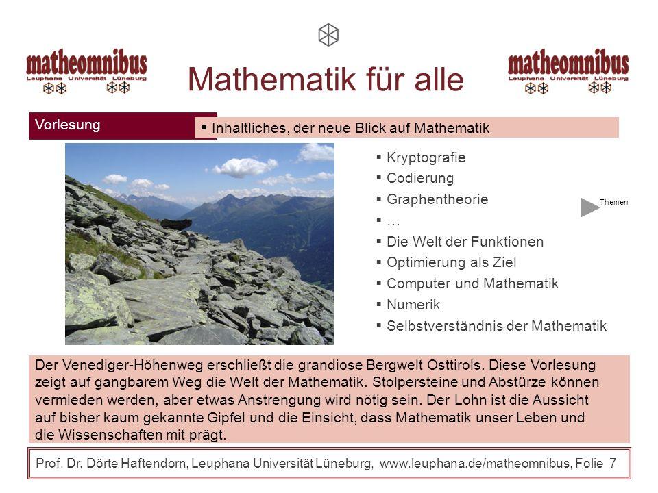 Prof. Dr. Dörte Haftendorn, Leuphana Universität Lüneburg, www.leuphana.de/matheomnibus, Folie 6 Fächerübergreifende Methoden Fachspezifische Methoden
