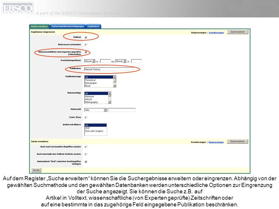 Auf dem Register Suche erweitern können Sie die Suchergebnisse erweitern oder eingrenzen.