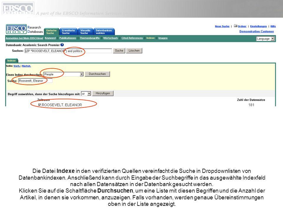 Die Datei Indexe in den verifizierten Quellen vereinfacht die Suche in Dropdownlisten von Datenbankindexen.