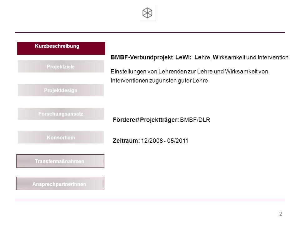 Team Hochschuldidaktik Prof. Dr. Christa Cremer-Renz Dr. Bettina Jansen-Schulz Dipl.-Ing. Brit-Maren Block 2 BMBF-Verbundprojekt LeWI: Lehre, Wirksamk