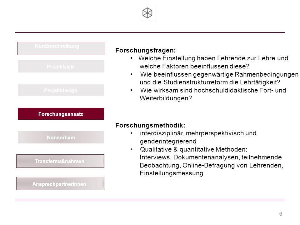 Team Hochschuldidaktik Prof. Dr. Christa Cremer-Renz Dr. Bettina Jansen-Schulz Dipl.-Ing. Brit-Maren Block 6 Kurzbeschreibung Projektziele Projektdesi
