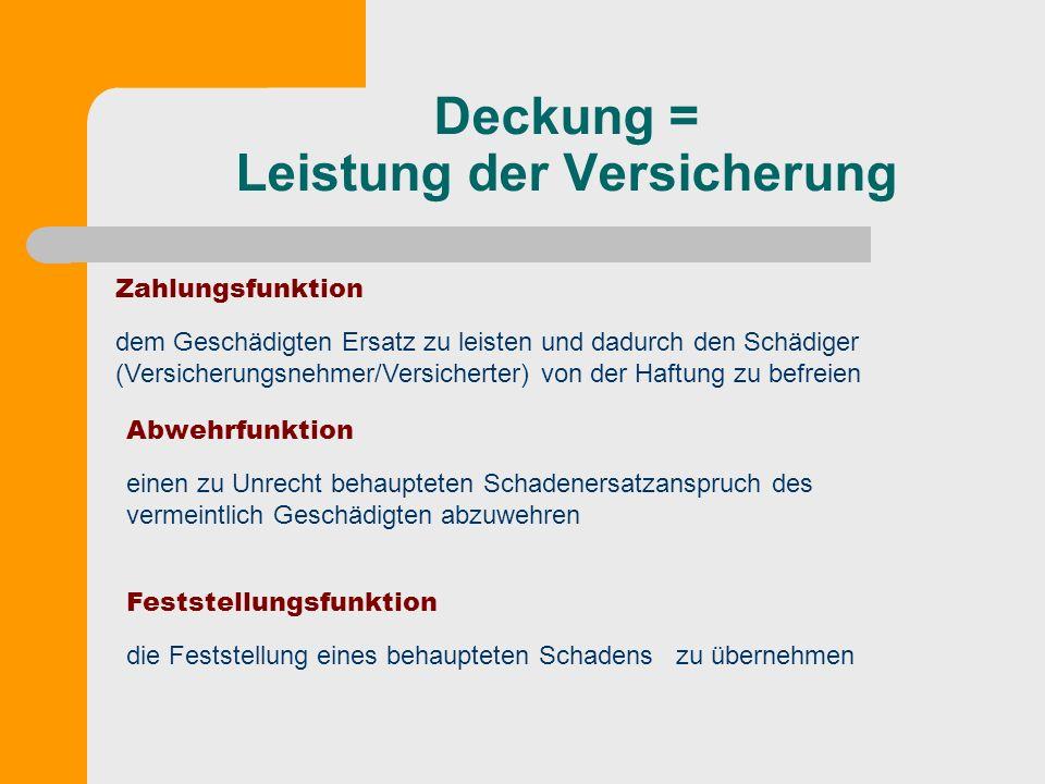 Deckung = Leistung der Versicherung Zahlungsfunktion dem Geschädigten Ersatz zu leisten und dadurch den Schädiger (Versicherungsnehmer/Versicherter) v