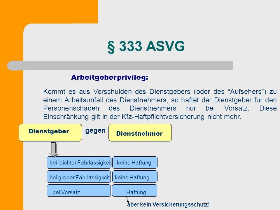 § 333 ASVG Arbeitgeberprivileg: Kommt es aus Verschulden des Dienstgebers (oder des Aufsehers) zu einem Arbeitsunfall des Dienstnehmers, so haftet der