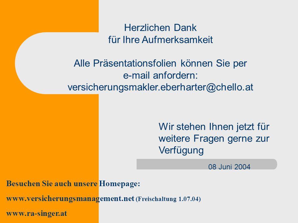 Herzlichen Dank für Ihre Aufmerksamkeit Alle Präsentationsfolien können Sie per e-mail anfordern: versicherungsmakler.eberharter@chello.at 08 Juni 200