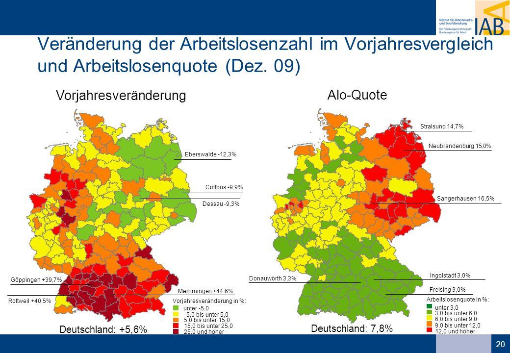 20 unter -5,0 -5,0 bis unter 5,0 5,0 bis unter 15,0 15,0 bis unter 25,0 25,0 und höher Vorjahresveränderung in %: Dessau -9,3% Eberswalde -12,3% Cottbus -9,9% Memmingen +44,6% Rottweil +40,5% Göppingen +39,7% Deutschland: +5,6% unter 3,0 3,0 bis unter 6,0 6,0 bis unter 9,0 9,0 bis unter 12,0 12,0 und höher Arbeitslosenquote in %: Deutschland: 7,8% Freising 3,0% Ingolstadt 3,0% Donauwörth 3,3% Sangerhausen 16,5% Neubrandenburg 15,0% Stralsund 14,7% Veränderung der Arbeitslosenzahl im Vorjahresvergleich und Arbeitslosenquote (Dez.