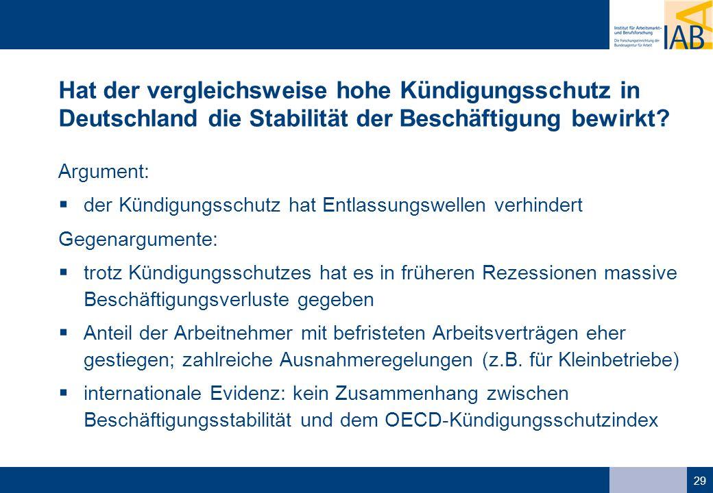 29 Hat der vergleichsweise hohe Kündigungsschutz in Deutschland die Stabilität der Beschäftigung bewirkt.