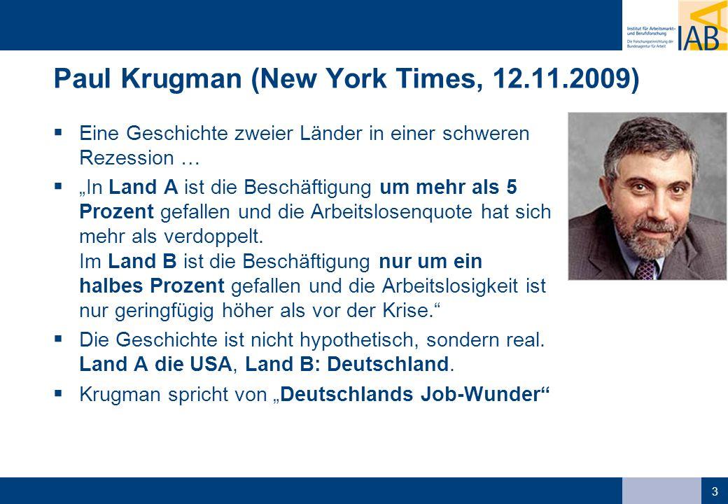 3 Paul Krugman (New York Times, 12.11.2009) Eine Geschichte zweier Länder in einer schweren Rezession … In Land A ist die Beschäftigung um mehr als 5 Prozent gefallen und die Arbeitslosenquote hat sich mehr als verdoppelt.