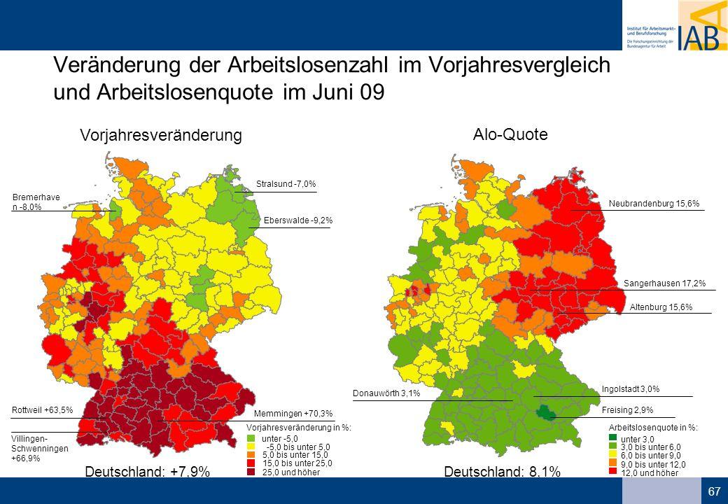 67 Veränderung der Arbeitslosenzahl im Vorjahresvergleich und Arbeitslosenquote im Juni 09 unter -5,0 -5,0 bis unter 5,0 5,0 bis unter 15,0 15,0 bis unter 25,0 25,0 und höher Vorjahresveränderung in %: Stralsund -7,0% Eberswalde -9,2% Bremerhave n -8,0% Memmingen +70,3% Rottweil +63,5% Villingen- Schwenningen +66,9% Deutschland: +7,9% Vorjahresveränderung Alo-Quote unter 3,0 3,0 bis unter 6,0 6,0 bis unter 9,0 9,0 bis unter 12,0 12,0 und höher Arbeitslosenquote in %: Deutschland: 8,1% Freising 2,9% Ingolstadt 3,0% Donauwörth 3,1% Sangerhausen 17,2% Altenburg 15,6% Neubrandenburg 15,6%