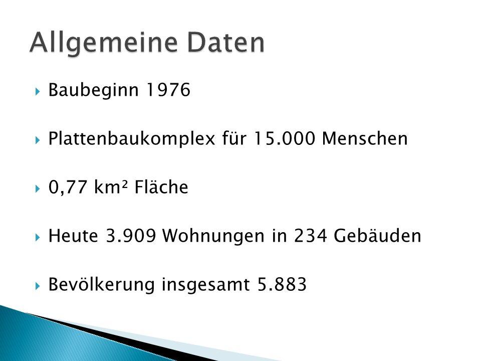 Bau von 1976 bis 1981 Baugrund: dringende Wohnungsprobleme DDR-Typische Zentralisierung Ziel: soziale Einrichtungen für Menschen Zunächst keine Straßenanbindung Galt schon zu Bauzeiten nicht als erste Wahl