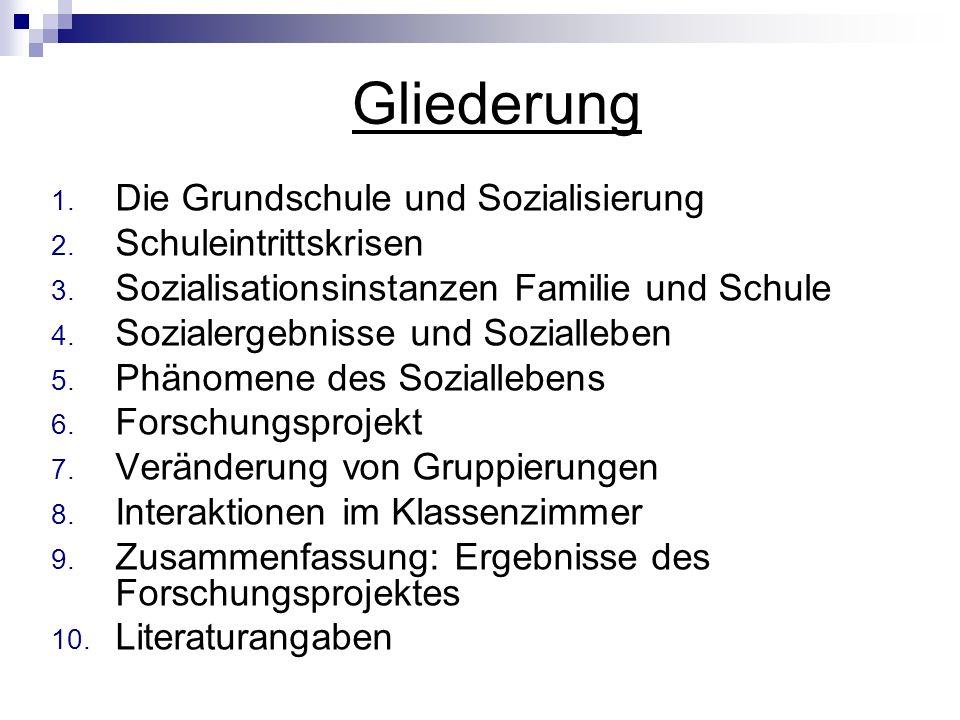 Gliederung 1. Die Grundschule und Sozialisierung 2. Schuleintrittskrisen 3. Sozialisationsinstanzen Familie und Schule 4. Sozialergebnisse und Soziall