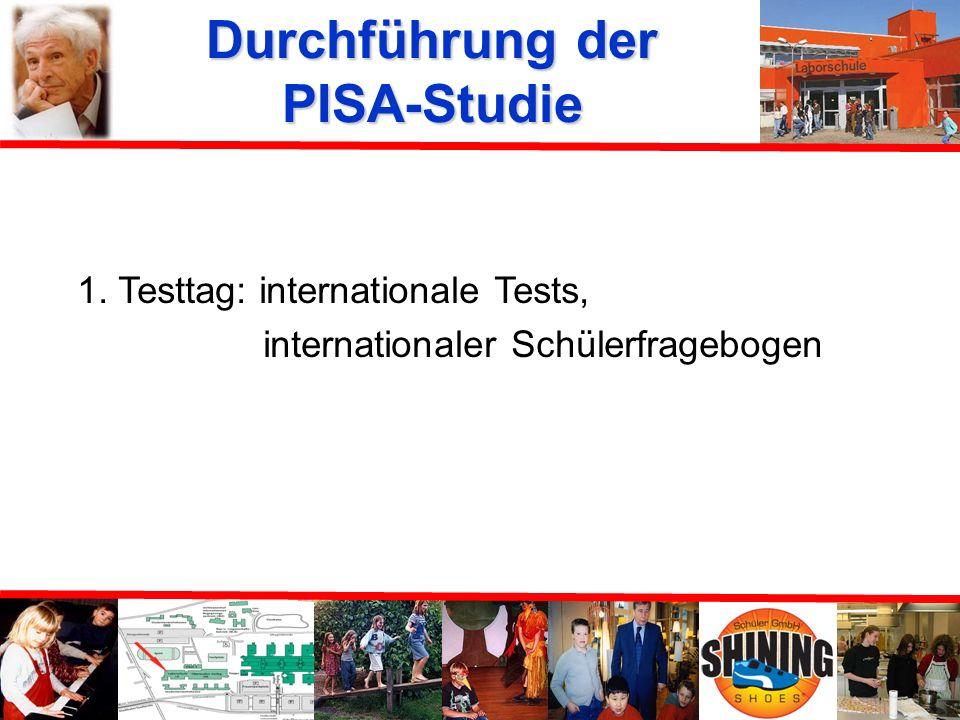 Durchführung der PISA-Studie Vorbereitung: Mitarbeiter des MPIB, Berlin und Schulkoordinatorin externe Testleiter (3 Studenten höherer Semester) Durch