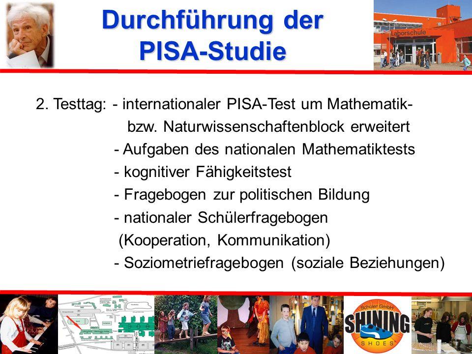 Durchführung der PISA-Studie 1. Testtag: internationale Tests, internationaler Schülerfragebogen
