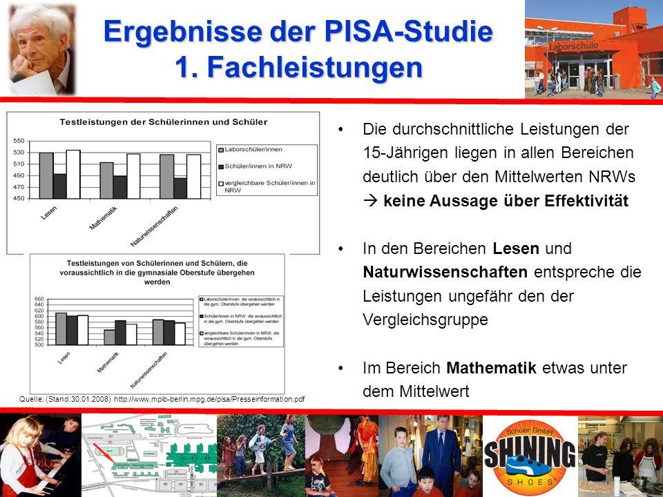 Ergebnisse der PISA-Studie Max-Planck-Institut für Bildungsforschung (Berlin): Fachleistungen Bildung für alle? Geschlechterspezifische Unterschiede K