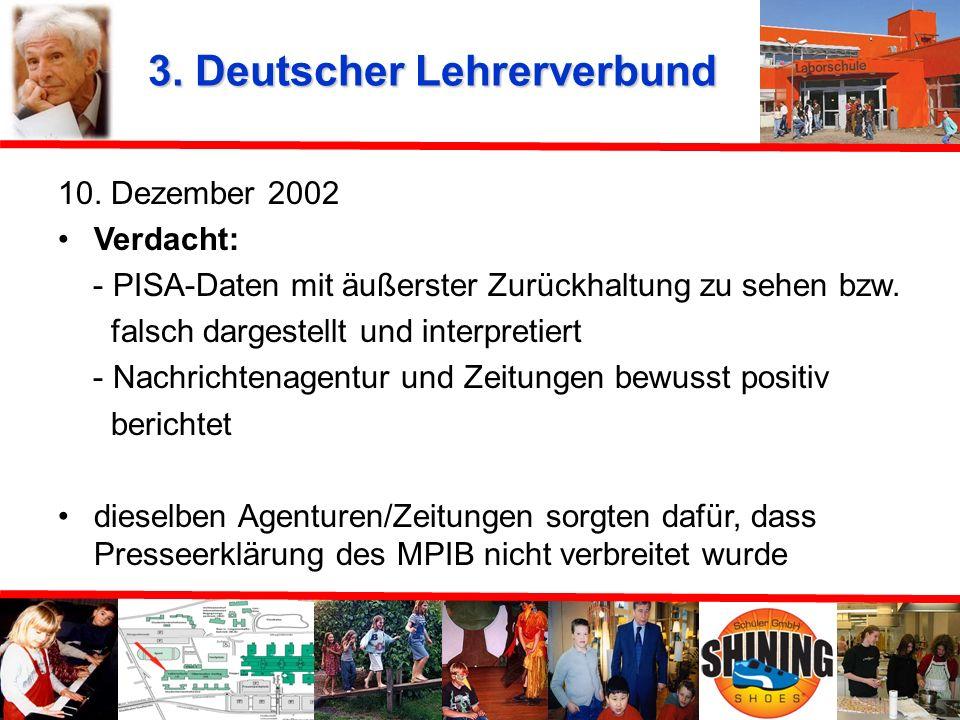 2. Stellungnahme des Max-Planck-Institutes 26. November 2002 Meldungen irreführend entsprechen nicht der Darstellung der Ergebnisse für die Laborschul