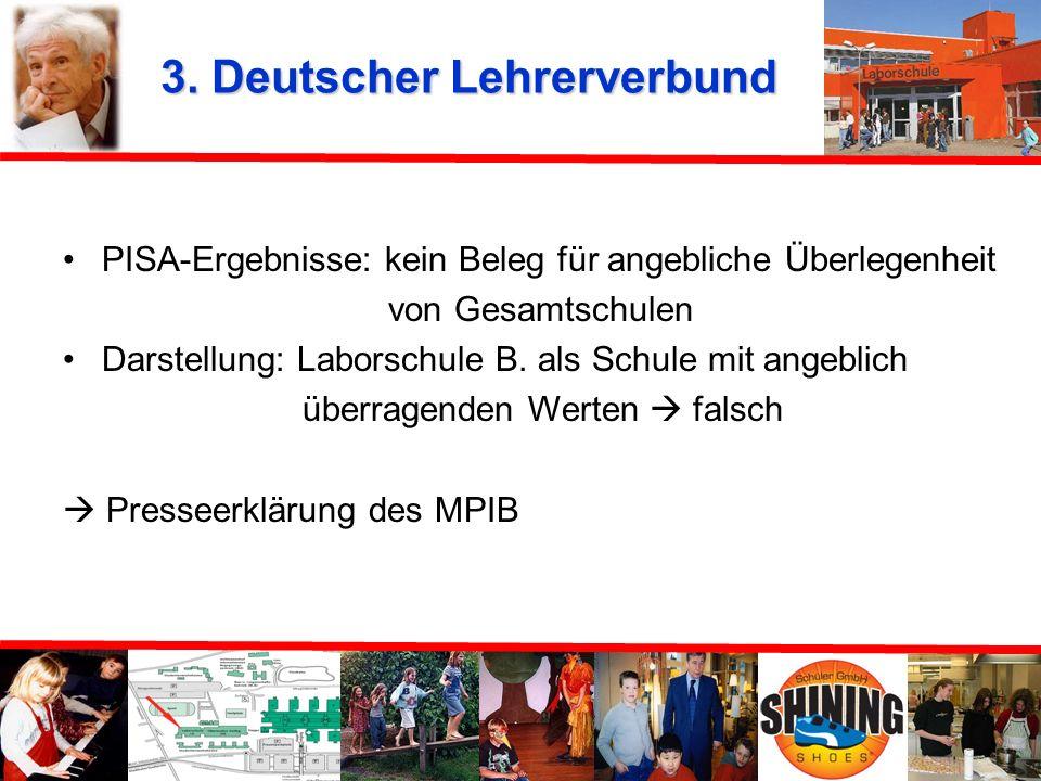 3. Deutscher Lehrerverbund 10. Dezember 2002 Verdacht: - PISA-Daten mit äußerster Zurückhaltung zu sehen bzw. falsch dargestellt und interpretiert - N