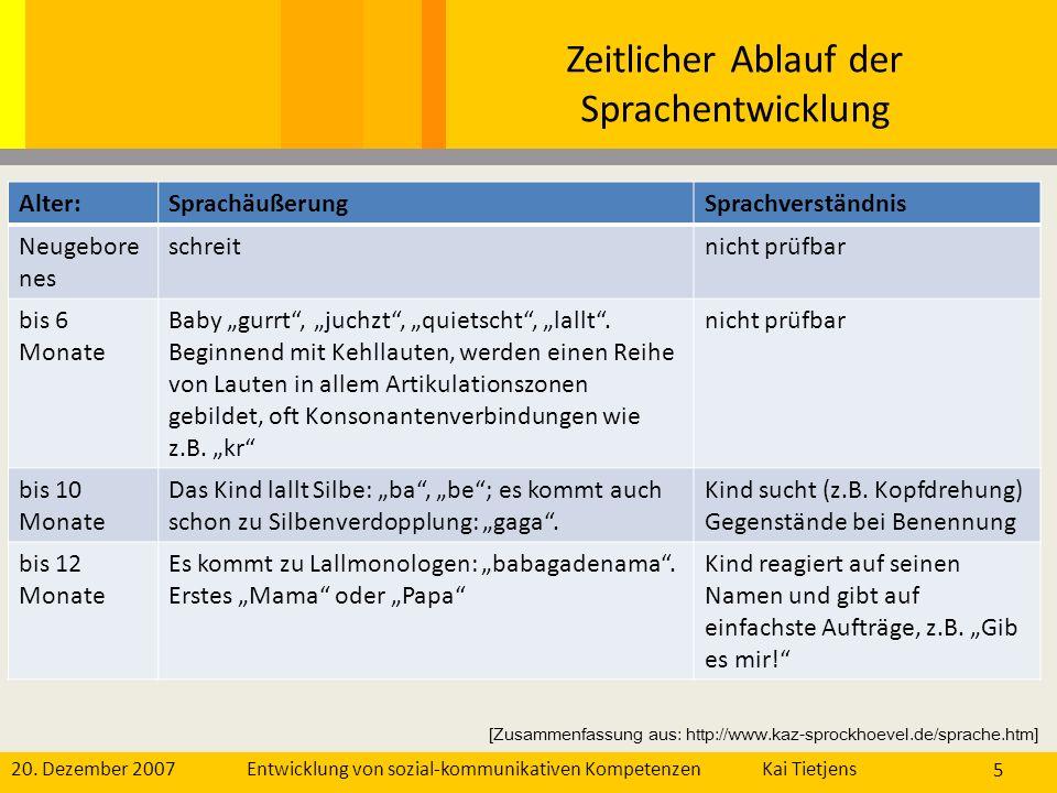 20. Dezember 2007Kai Tietjens Entwicklung von sozial-kommunikativen Kompetenzen 5 Zeitlicher Ablauf der Sprachentwicklung Alter:SprachäußerungSprachve