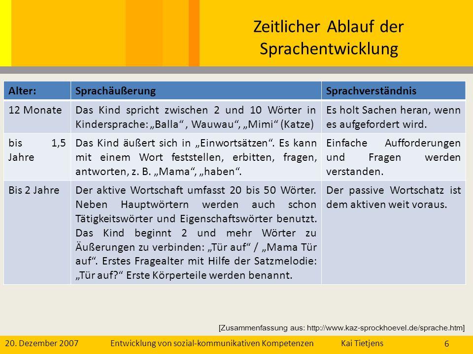 20. Dezember 2007Kai Tietjens Entwicklung von sozial-kommunikativen Kompetenzen 6 Alter:SprachäußerungSprachverständnis 12 MonateDas Kind spricht zwis