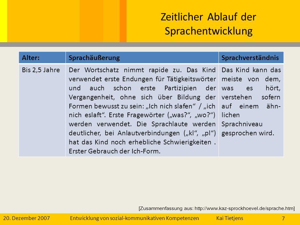 20. Dezember 2007Kai Tietjens Entwicklung von sozial-kommunikativen Kompetenzen 7 Alter:SprachäußerungSprachverständnis Bis 2,5 JahreDer Wortschatz ni