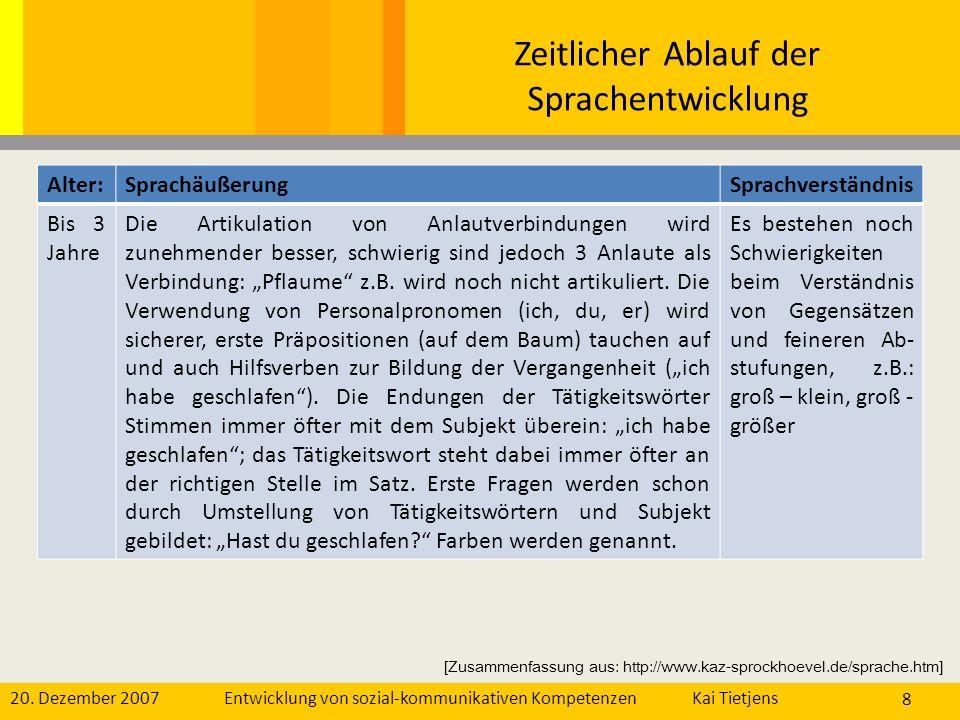 20. Dezember 2007Kai Tietjens Entwicklung von sozial-kommunikativen Kompetenzen 8 Alter:SprachäußerungSprachverständnis Bis 3 Jahre Die Artikulation v