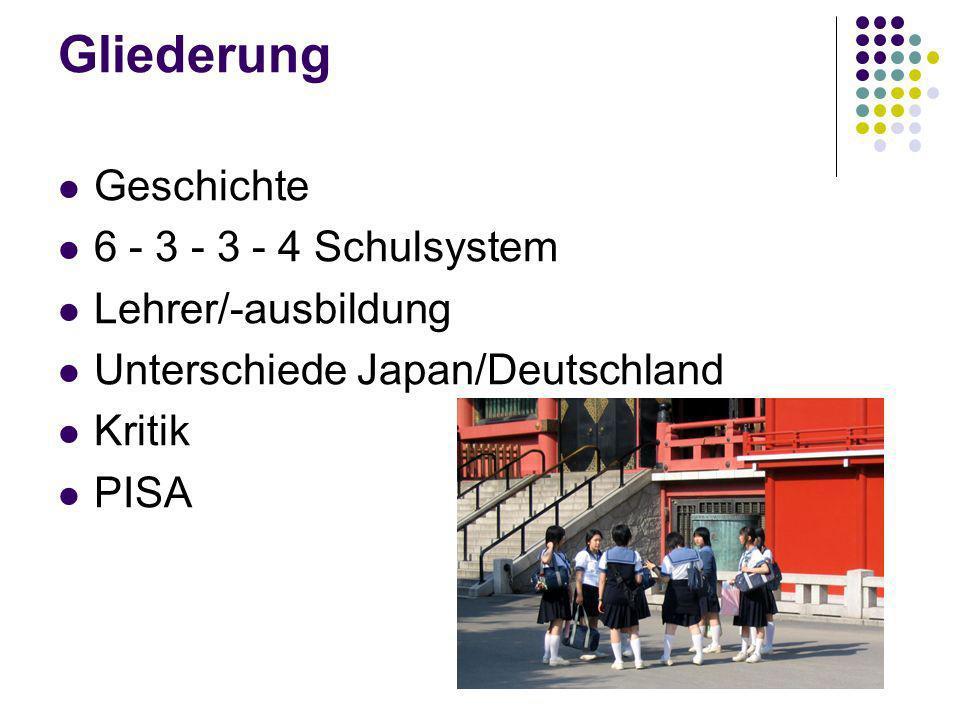 Gliederung Geschichte 6 - 3 - 3 - 4 Schulsystem Lehrer/-ausbildung Unterschiede Japan/Deutschland Kritik PISA