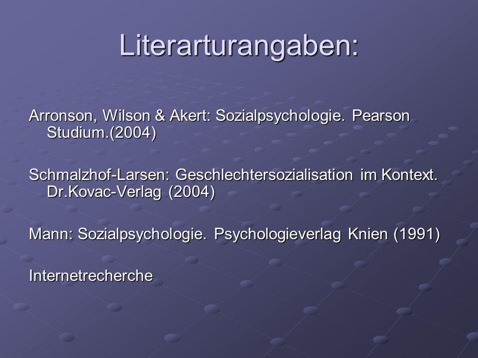Literarturangaben: Arronson, Wilson & Akert: Sozialpsychologie. Pearson Studium.(2004) Schmalzhof-Larsen: Geschlechtersozialisation im Kontext. Dr.Kov