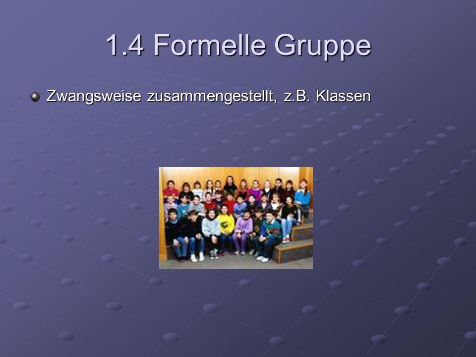 1.4 Formelle Gruppe Zwangsweise zusammengestellt, z.B. Klassen