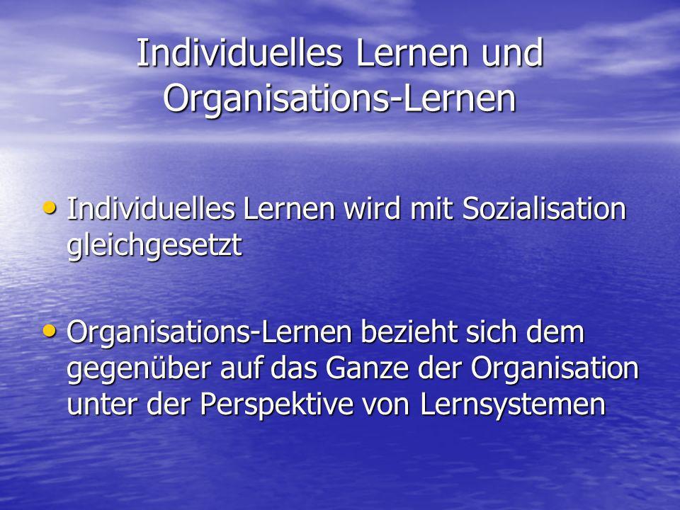 Individuelles Lernen und Organisations-Lernen Individuelles Lernen wird mit Sozialisation gleichgesetzt Individuelles Lernen wird mit Sozialisation gl