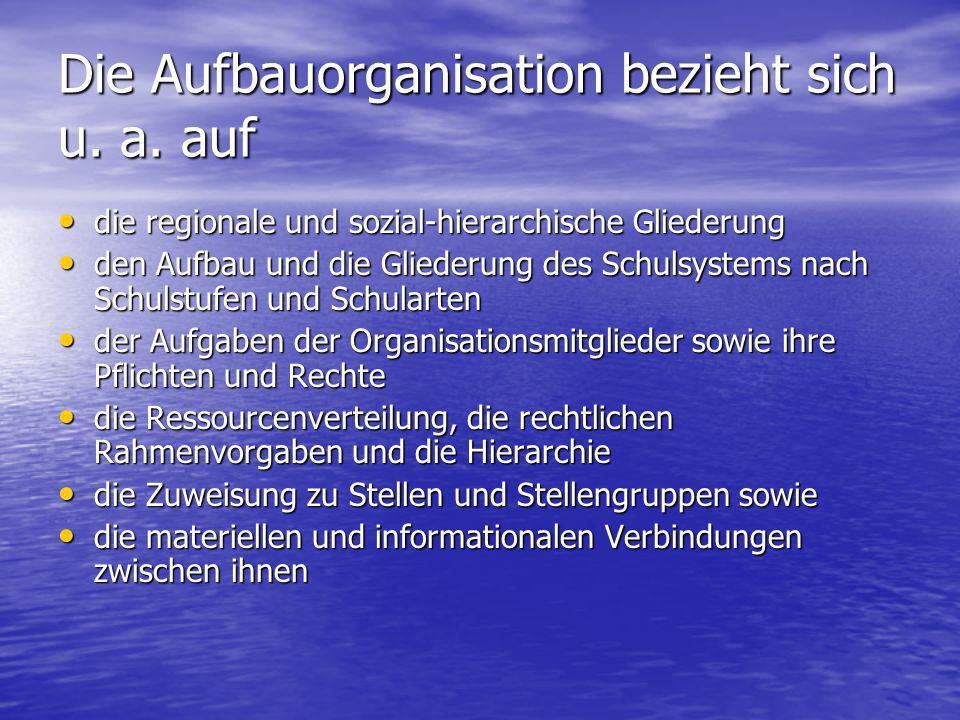 Die Aufbauorganisation bezieht sich u. a. auf die regionale und sozial-hierarchische Gliederung die regionale und sozial-hierarchische Gliederung den