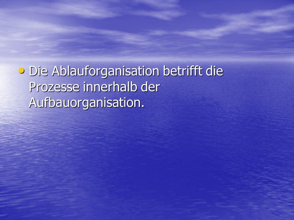 Die Ablauforganisation betrifft die Prozesse innerhalb der Aufbauorganisation. Die Ablauforganisation betrifft die Prozesse innerhalb der Aufbauorgani