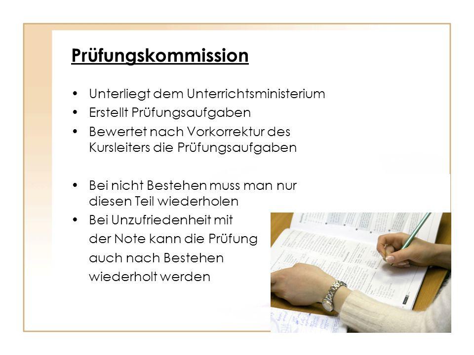 Prüfungskommission Unterliegt dem Unterrichtsministerium Erstellt Prüfungsaufgaben Bewertet nach Vorkorrektur des Kursleiters die Prüfungsaufgaben Bei
