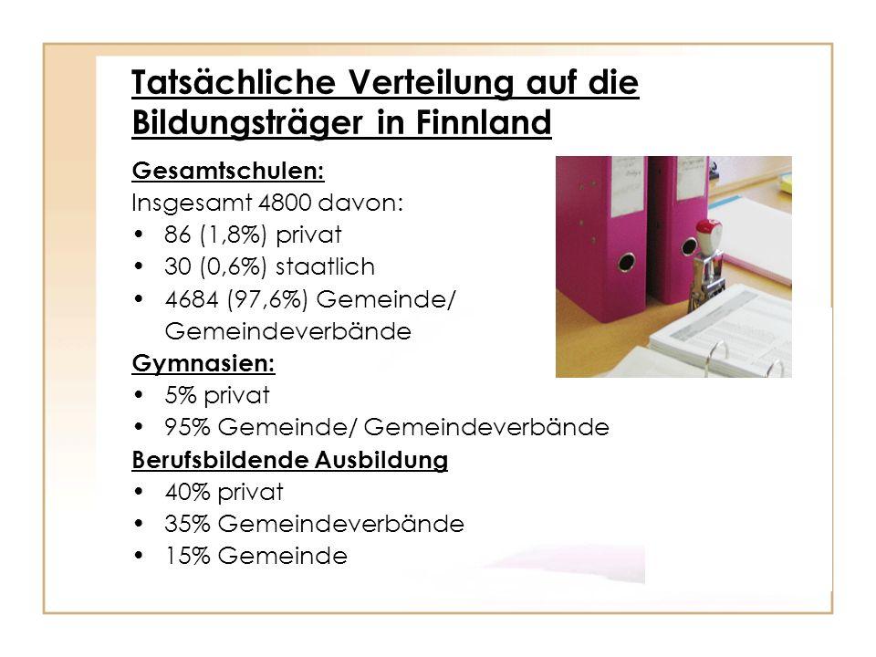 Tatsächliche Verteilung auf die Bildungsträger in Finnland Gesamtschulen: Insgesamt 4800 davon: 86 (1,8%) privat 30 (0,6%) staatlich 4684 (97,6%) Geme
